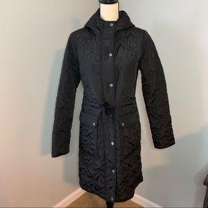 AVEC LES FILLES | Black Hooded Knee Length Coat
